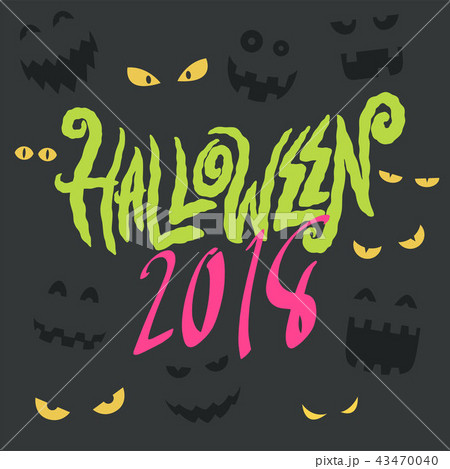 happy halloween party lettering card 43470040