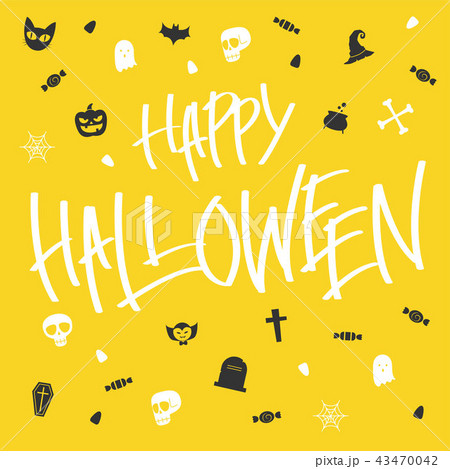 hallween card lettering and icon 43470042