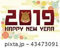 年賀状 ベクター 2019年のイラスト 43473091