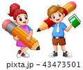 女生徒 男子生徒 子供のイラスト 43473501