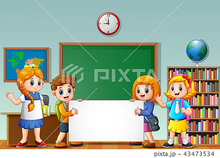 cartoon school kids with blank sign in a classroomのイラスト素材