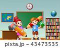 女生徒 男子生徒 マンガのイラスト 43473535