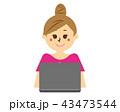女性 パソコン 検索のイラスト 43473544