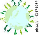 シルエット 人 地球のイラスト 43474967