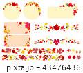 秋 紅葉 フレームのイラスト 43476436