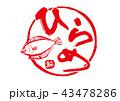 ひらめ 鮃 筆文字 43478286