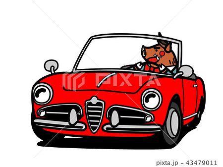 2019年年賀状素材 オープンカーと亥 赤色 43479011