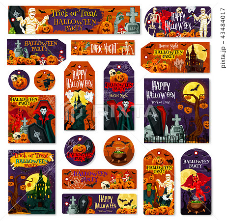 Halloween holiday pumpkin monster tag and label 43484017