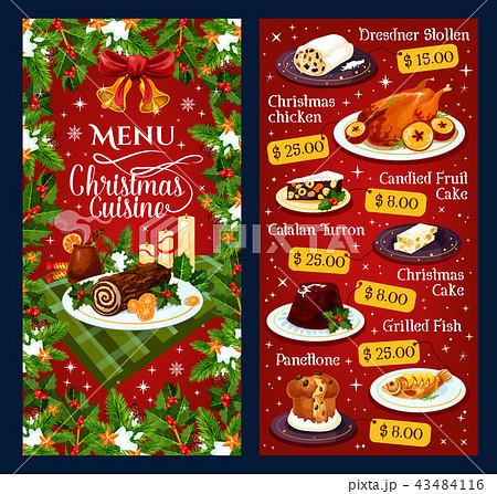 Christmas dinner cuisine vector restaurant menu 43484116