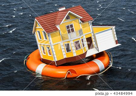 Flood insurance concept. Home inside lifebuoy 43484994