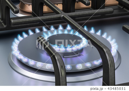 Gas cooker with double gas burners. 3D rendering 43485031