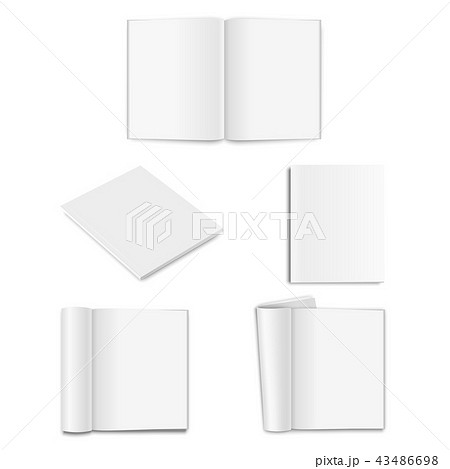 Vector realistic empty paper closed and opened A5 magazine, book, catalog or brochure with rolled 43486698