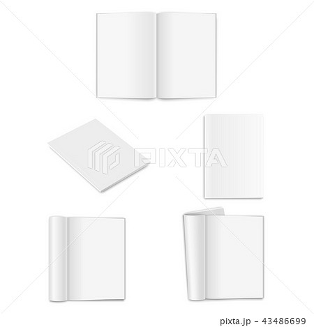 Vector realistic empty paper closed and opened A4 vertical magazine, book, catalog or brochure with 43486699