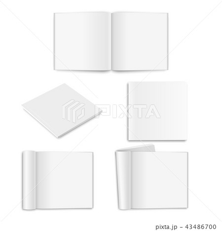Vector realistic empty paper closed and opened square magazine, book, catalog or brochure with 43486700