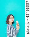 食べ物と女性 カラーバック 43493557