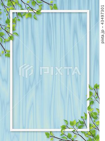 新緑 葉 白いフレーム 青色 木目 43497301