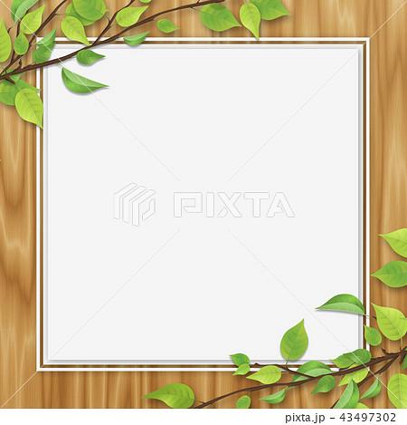 新緑 葉 ホワイトスペース オーク色 木目 43497302