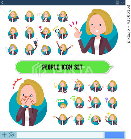 flat type blond hair business women_icon 43500103