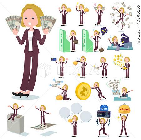 flat type blond hair business women_money 43500105