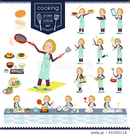 flat type blond hair business women_cooking 43500118