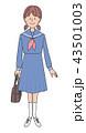 女性 学生 セーラー服のイラスト 43501003