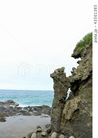 北海道 日本海と親子熊岩 43501365