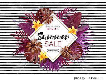 Summer sale background with exotic leaves and flowers. Vector background for banner, poster, flyer 43503336