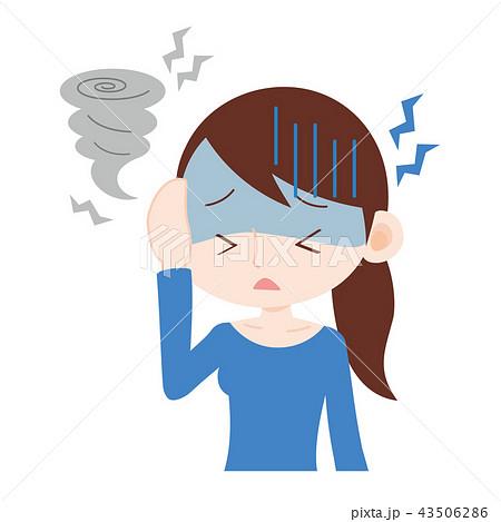 台風で頭が痛い女性 気圧の変化 43506286
