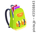 Open Schoolbag with Books Side View Vector 43508843