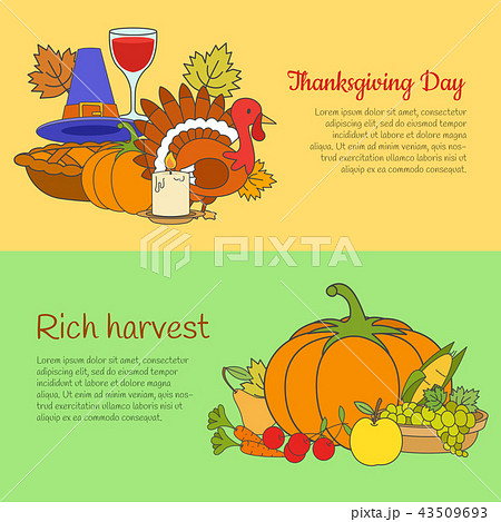 Thanksgiving Day and Rich Harvest Banners Set 43509693