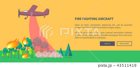 poster depicting plane putting out forest fireのイラスト素材