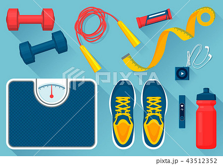 Convenient Equipment for Fitness Illustrations Set 43512352