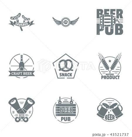 Craft beer logo set, simple style 43521737