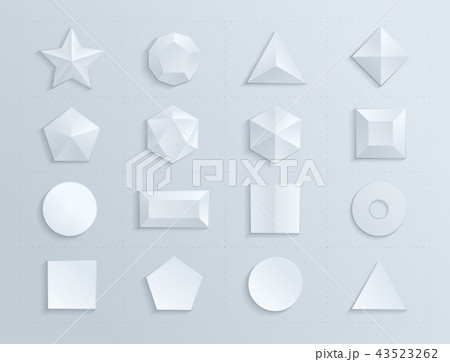 3d shapes template realisticのイラスト素材 43523262 pixta