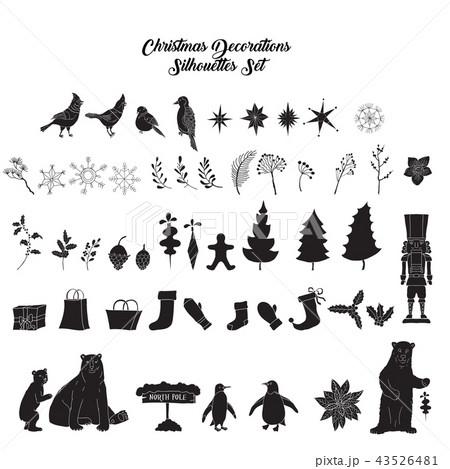 Christmas decoration silhouettes set Christmas tree 43526481