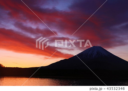 冬の朝焼けと富士山 43532346