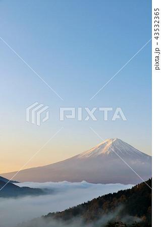 秋晴れの青空と雲海 そして富士山 43532365
