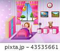 女の子 少女 ベッドのイラスト 43535661