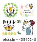 ビール フレーム 乾杯 イラスト セット 43540248