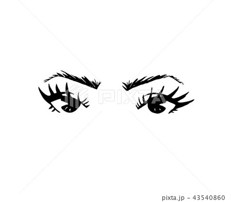 illustration of hand drawn woman s eyes with shaped eyebrows and
