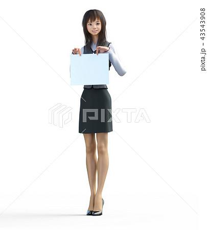 メッセージボードを持つビジネスガール perming3DCGイラスト素材 43543908