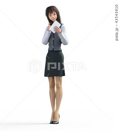 タブレットに入力するビジネスガール perming3DCGイラスト素材 43543910