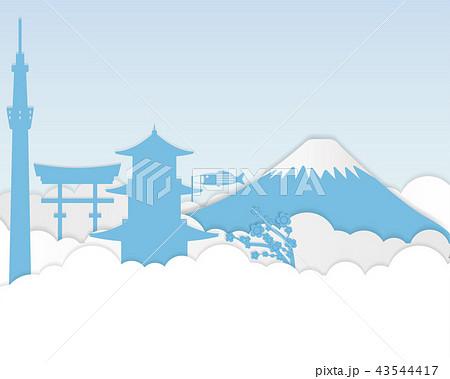 paper art of Japan Tourism. paper art of city. 43544417