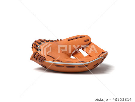 3d rendering of a single orange baseball mitt lying on a white background in side view. 43553814