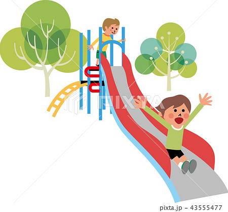 公園の滑り台と子供たち 43555477