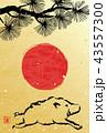 年賀状 亥 猪のイラスト 43557300