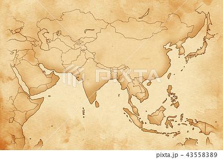 手描き 地図 古地図 テクスチャー 43558389