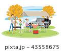 キャンプ 家族 バーベキューのイラスト 43558675