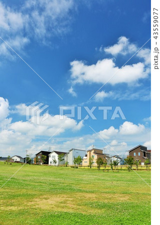 気持ちいい青空の街並みと公園 43559077