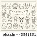 動物のセット 線画 手描き風 43561861